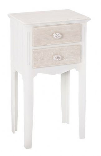 Marseilles White 2 Drawer Table